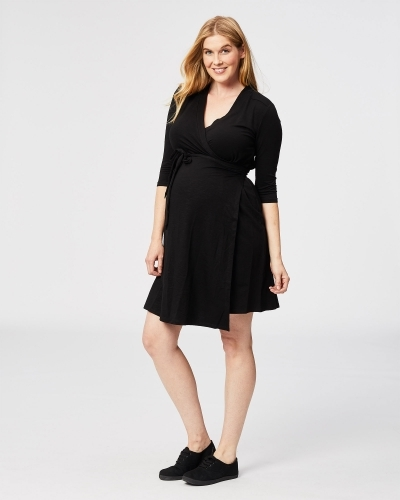 long sleeve maternity wrap dress