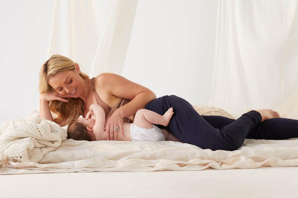 lying down breastfeeding position