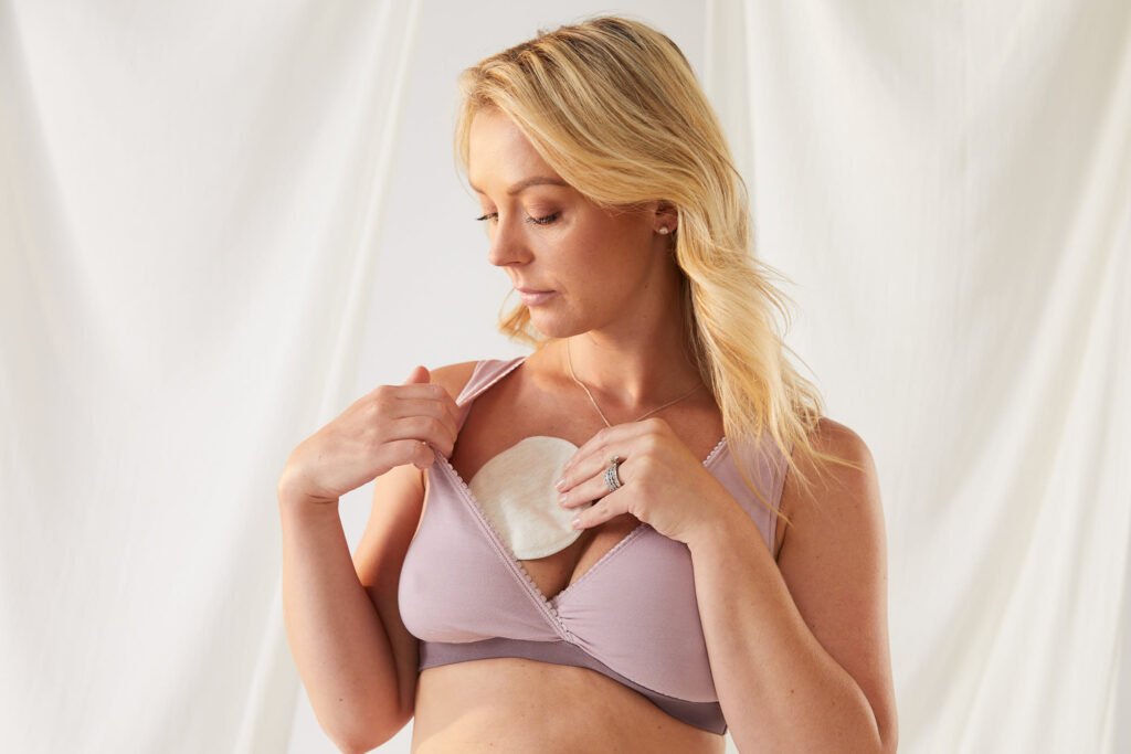 milk bamboo sleep bra with nursing pads