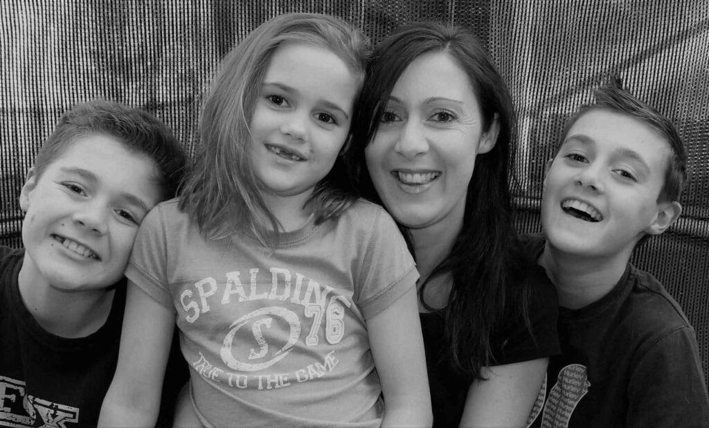 mum kat with kids