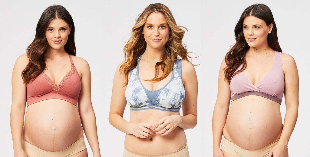 three women wearing bra
